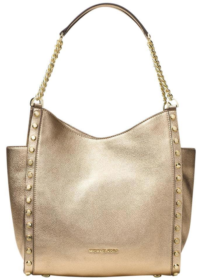 c5df766b9662ae Michael Kors Newbury Medium Chain Tote Pale Gold Leather Shoulder ...