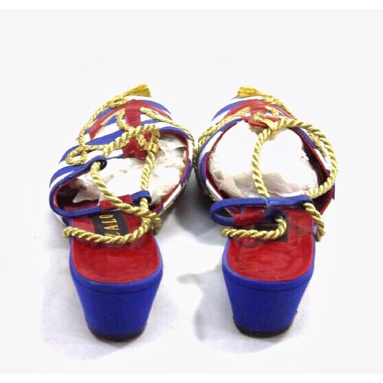 Zalo Vintage Vintage Leather Nautical Striped Multi-Color Mules