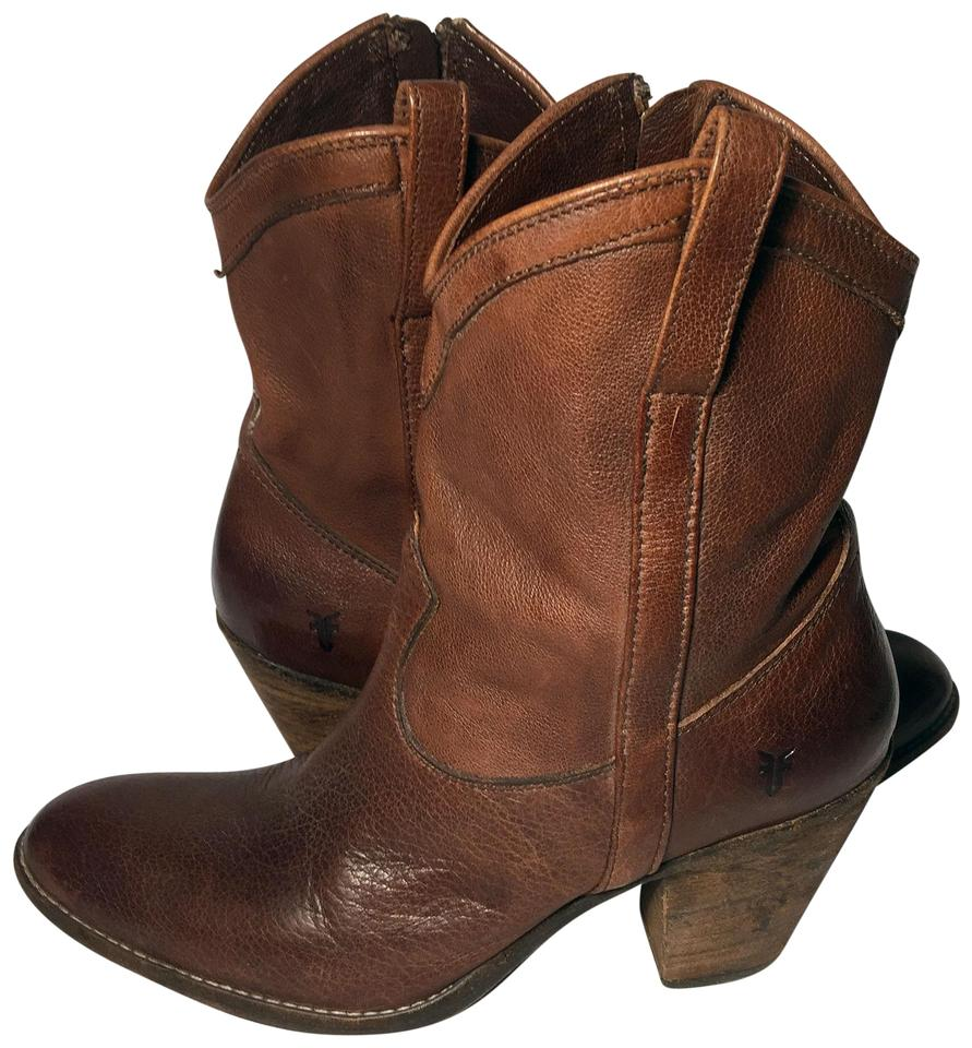 Frye Brown Cowgirl 77495 Taylor Short Ankle Cowgirl Brown Riding Women Boots/Booties 59473a