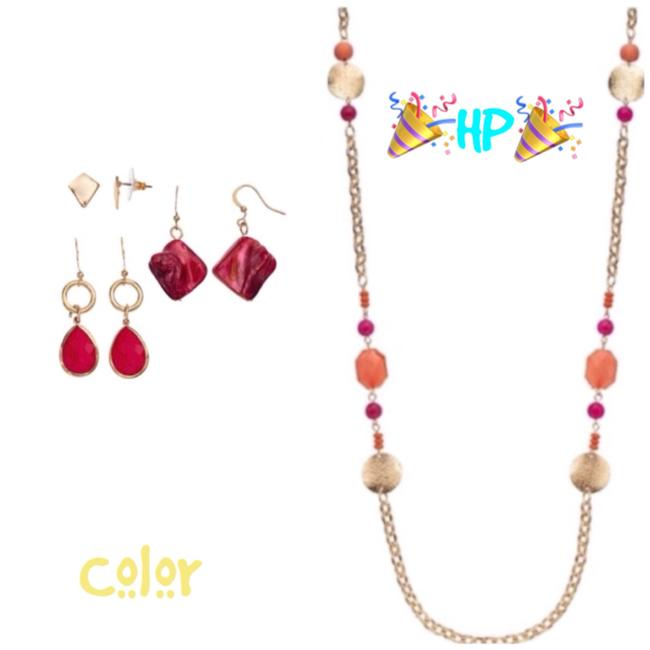 Color Gold Earrings Necklace Color Gold Earrings Necklace Image 1