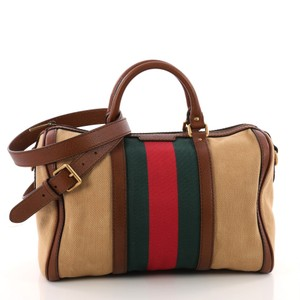 Gucci Vintage Satchel In Green And Red
