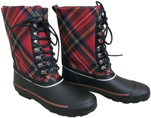 Burberry Check Lace Up Red Black Boots