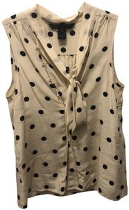 Marc by Marc Jacobs Polka Dot Shell Sleeveless Top Off-White & Black