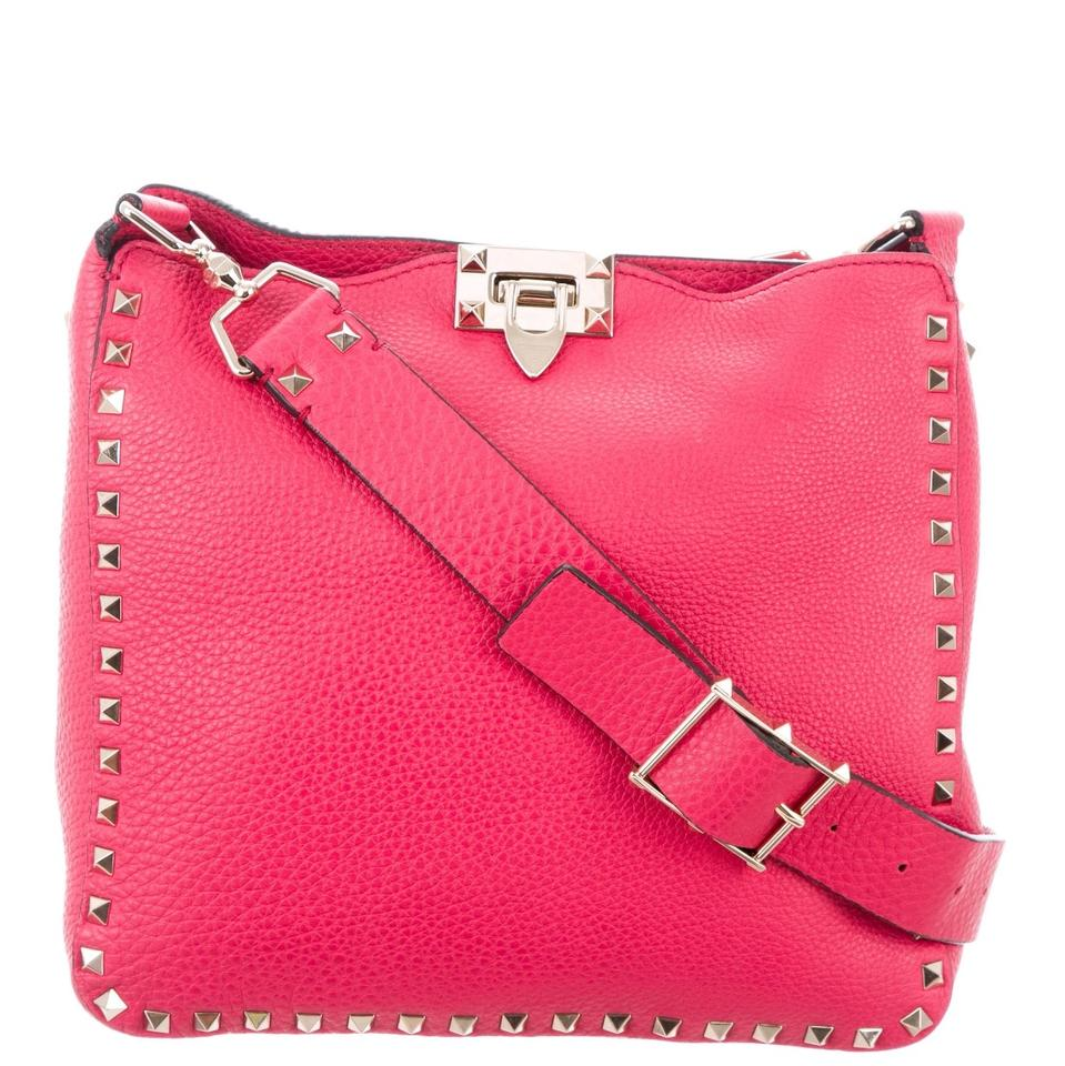 Valentino Messenger Cross Body Bag Pink Rockstud Leather Fuschia wr7wq8