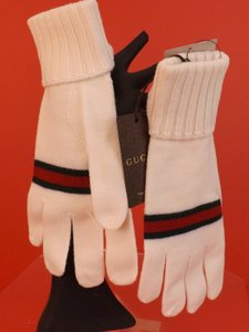 Gucci White XL Wool Knit Ribbed Cuff Green Red Web Logo Gloves #294732 Men's Jewelry/Accessory