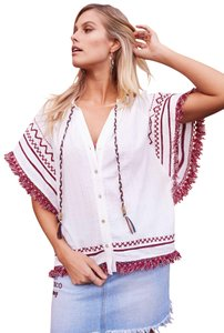 Somedays Lovin Native Print Revolve Button Down Shirt WHITE