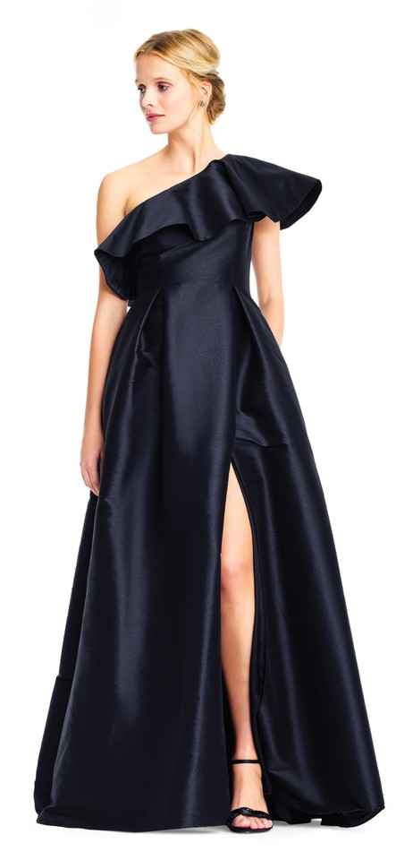 1a2afd224a787 Adrianna Papell Black One Shoulder Mikado Gown with Ruffle Accent Formal  Dress