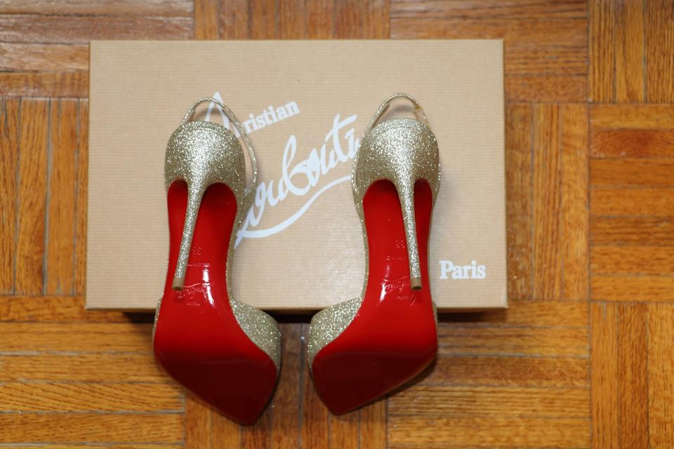 Louboutin Pumps Slingback Sandals 100 Christian In Glitter Platine Ever dwZXBHq