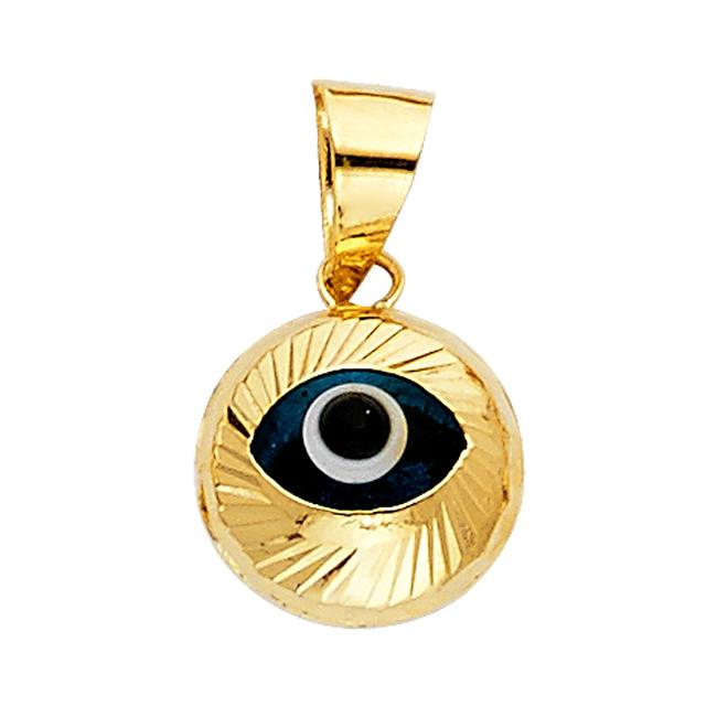 Unbranded Yellow Gold 14k Evil Eye Fluted Pendant Charm Unbranded Yellow Gold 14k Evil Eye Fluted Pendant Charm Image 1