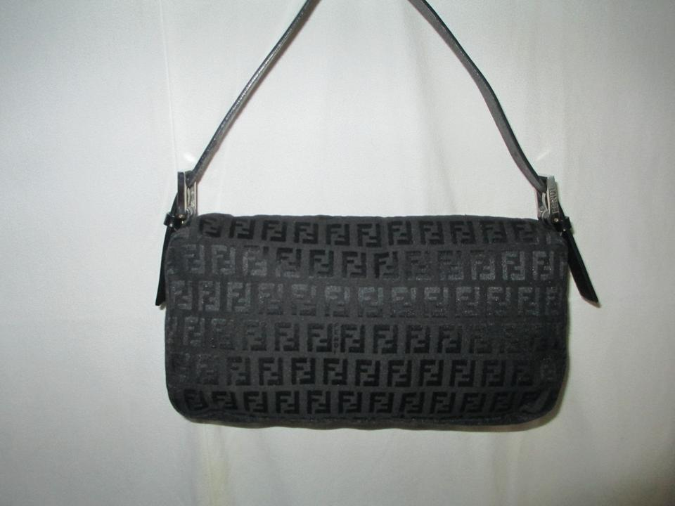 Forever Handbag Dust Leather Black Bag Canvas Fendi Zucchino Mama Shoulder and W EqcS4f