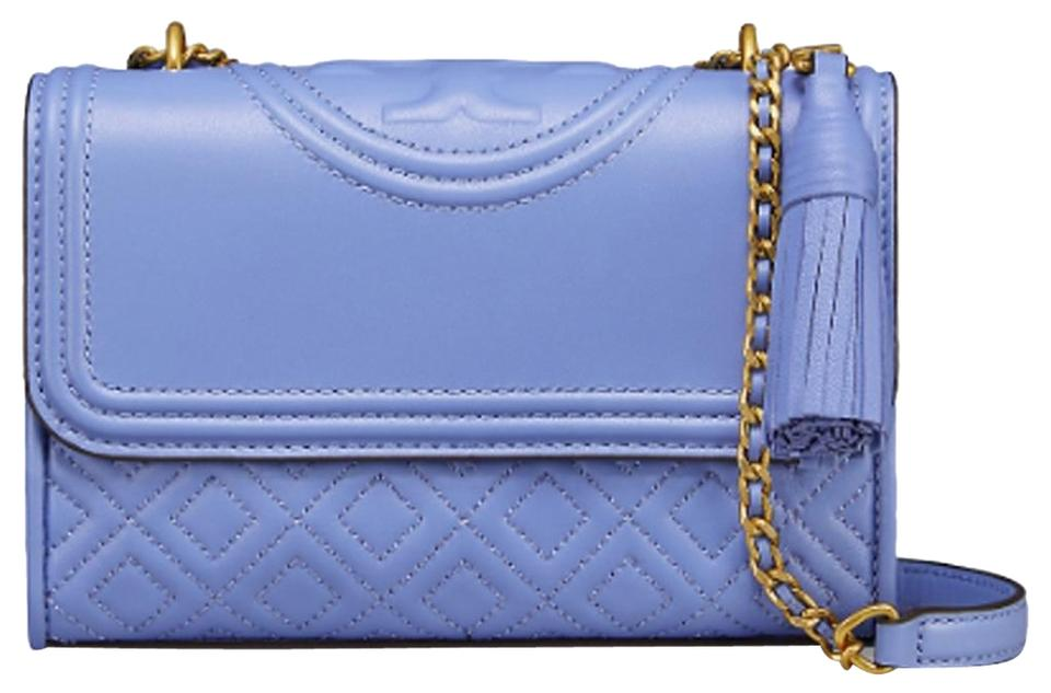 efb21c8331e Tory Burch Fleming Larkspur Small Shoulder Cross Blue Leather Cross ...