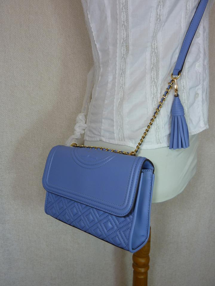 d0fe0e35f70e Tory Burch Fleming Larkspur Small Shoulder Cross Blue Leather Cross Body Bag  - Tradesy