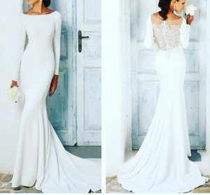 2b3ea03c7e435 Justin Alexander Ivory Crepe/Jersey Lines Style 8936 Long Sleeve with  Beaded Illusion Back Modest