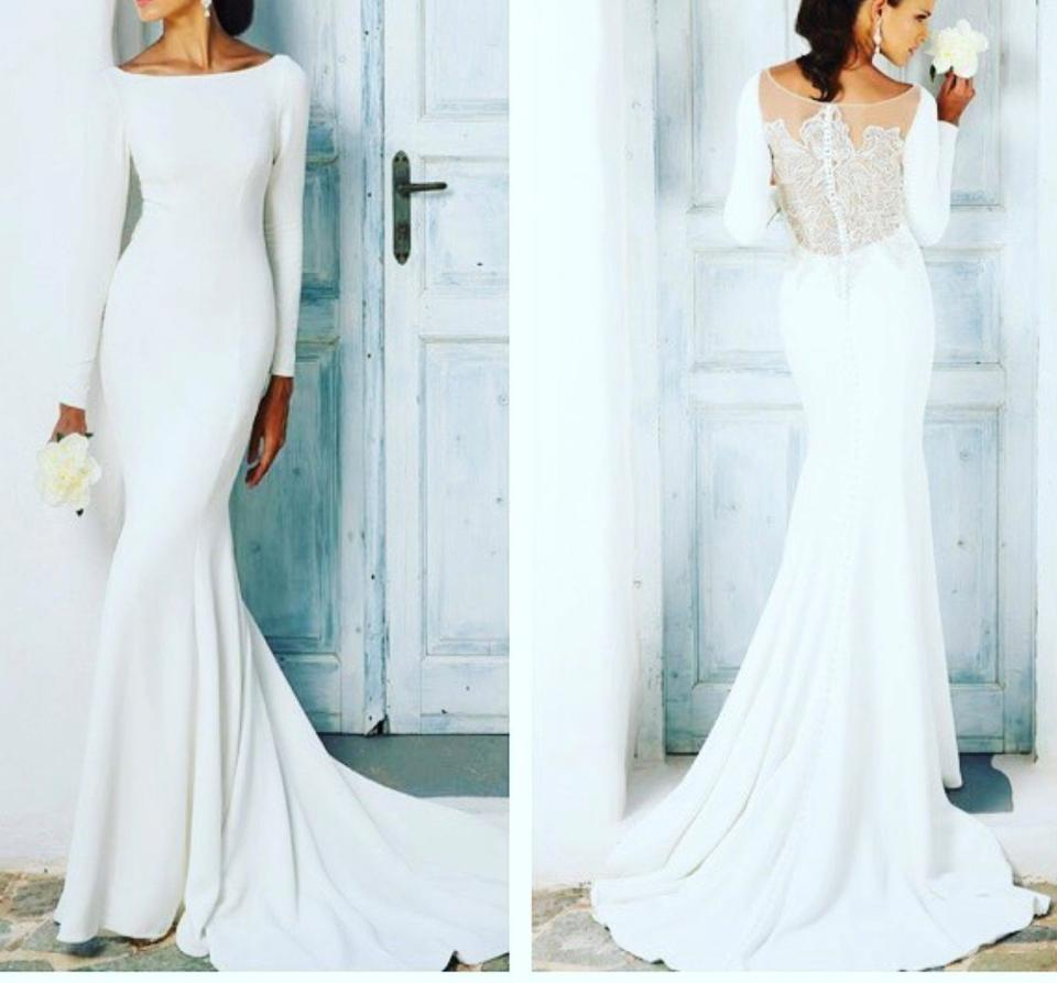 d4b4b5cff064 Justin Alexander Ivory Crepe/Jersey Lines Style 8936 Long Sleeve with Beaded  Illusion Back Modest ...