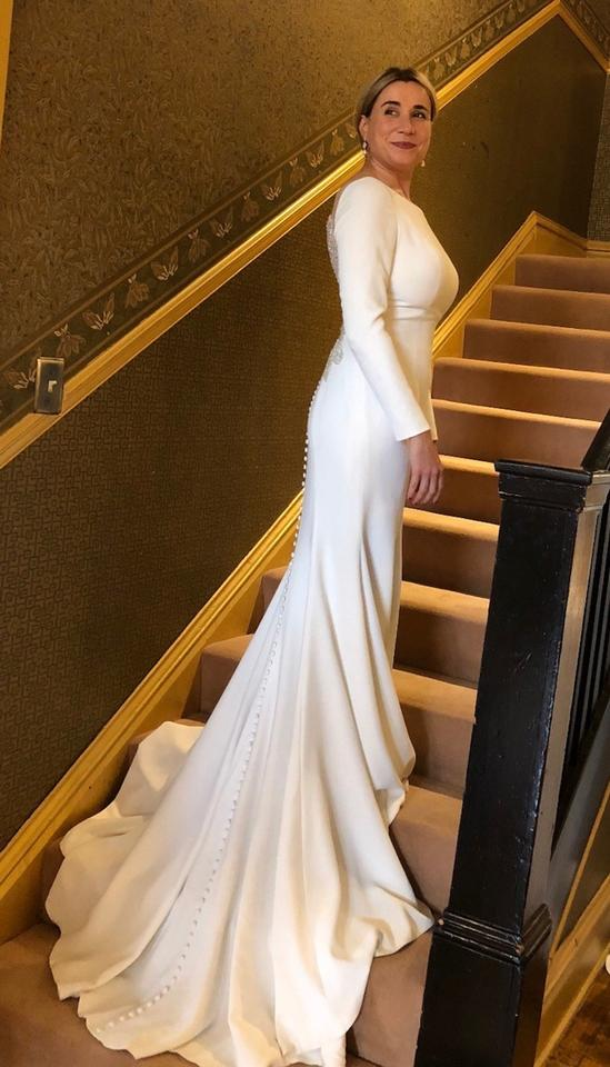 eba4af0eb8f Justin Alexander Ivory Crepe Jersey Lines Style 8936 Long Sleeve with Beaded  Illusion Back Modest. 123456789101112