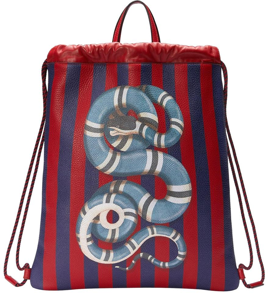 d7f8ce9ff5dc Gucci Drawstring Kingsnake Stripe Red Blue Leather Backpack - Tradesy