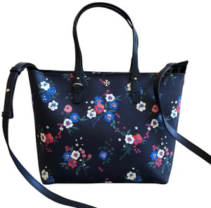 Tory Burch Gabriela Small Zip Summer Floral Tote in Pansy bouquet