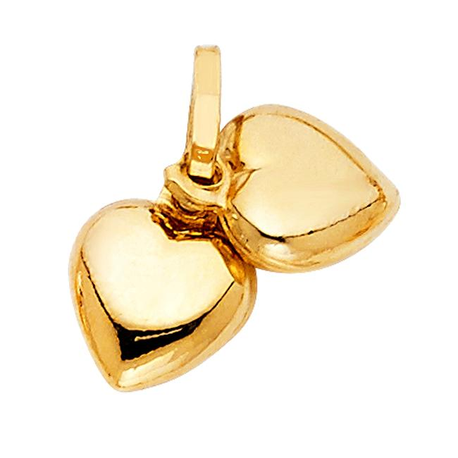 Unbranded Yellow Gold 14k Double Heart Pendant Charm Unbranded Yellow Gold 14k Double Heart Pendant Charm Image 1