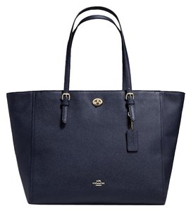Coach Turnlock Carryall Tote in Navy Blue/Silver