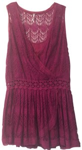 Free People short dress Pink Drop Waist V-neck Lace Lace Trim Detail on Tradesy