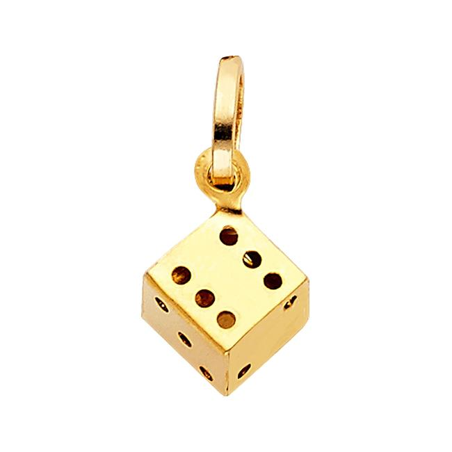 Unbranded Yellow Gold 14k Dice Pendant Charm Unbranded Yellow Gold 14k Dice Pendant Charm Image 1