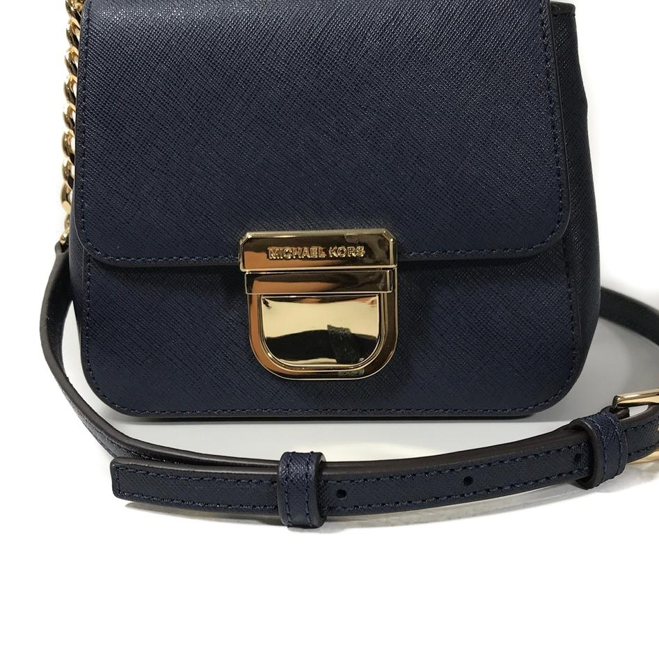 Michael Kors Bridgette Mini Th Convertible Blue Leather Cross Body ... 564896e123