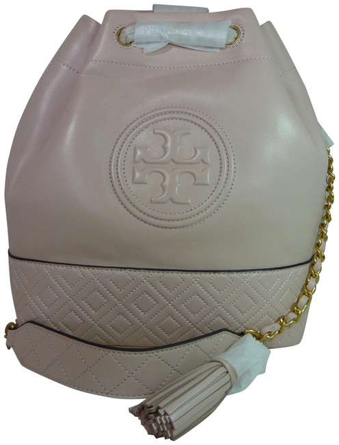 Tory Burch Fleming Bucket Shell Medium Pink Leather Tote Tory Burch Fleming Bucket Shell Medium Pink Leather Tote Image 1