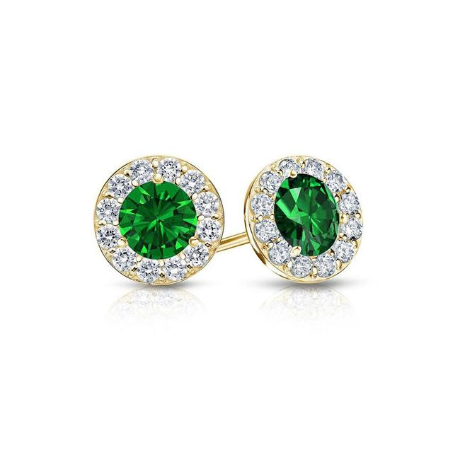 Green May Birthstone Emerald and Cz Halo Stud 18k Yellow Gold Over Earrings Green May Birthstone Emerald and Cz Halo Stud 18k Yellow Gold Over Earrings Image 1