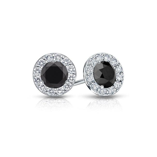 Black Onyx and Cz Halo Stud In Sterling Silver 1.50.ct.tw Earrings Black Onyx and Cz Halo Stud In Sterling Silver 1.50.ct.tw Earrings Image 1