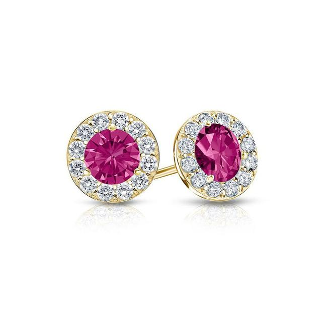 Pink September Birthstone Created Sapphire and Cz Halo Stud Earrings Pink September Birthstone Created Sapphire and Cz Halo Stud Earrings Image 1