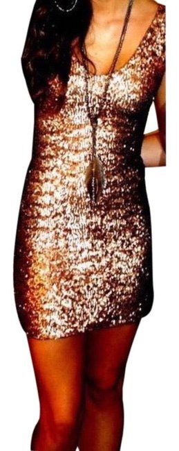 Item - Rose Gold Sequin Short Night Out Dress Size 4 (S)