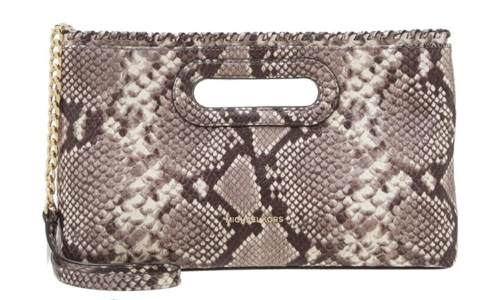 6a46073cd272 Michael Kors Rosalie Large Python Embossed Leather Clutch - Tradesy