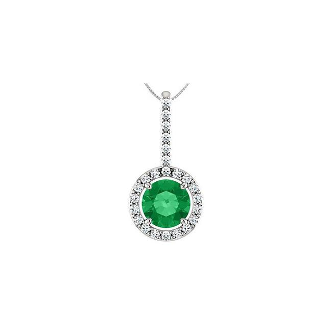 Green 925 Sterling Silver Cz Halo Style Drop Pendant with 6 Mm Created Emera Necklace Green 925 Sterling Silver Cz Halo Style Drop Pendant with 6 Mm Created Emera Necklace Image 1