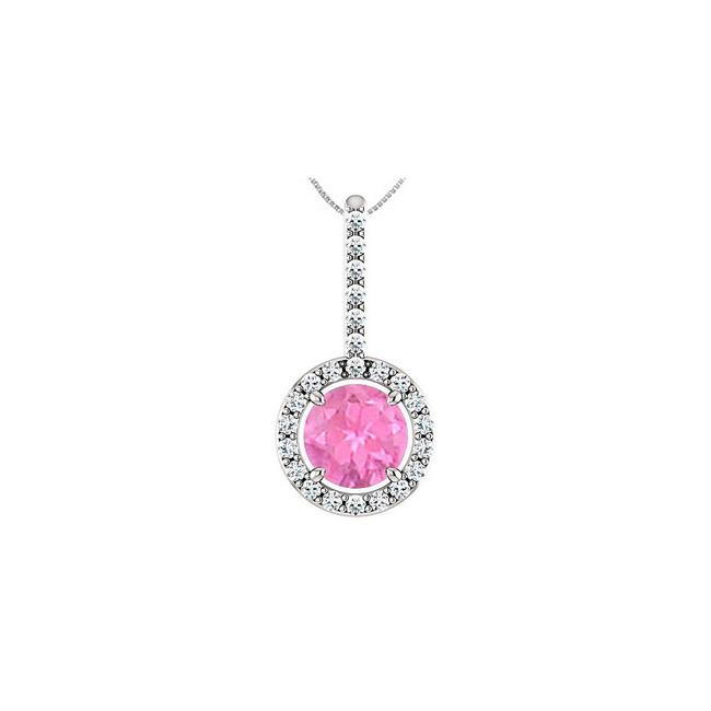 Pink Created Sapphire Pendant with Cubic Zirconia Halo Style In Sterli Necklace Pink Created Sapphire Pendant with Cubic Zirconia Halo Style In Sterli Necklace Image 1