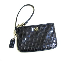 Coach Evening Sequined Purse Dark Zipper Closure Wristlet in Midnight Blue