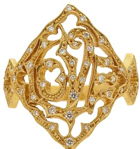 """Cathy Waterman Cathy Waterman """"Love Ring"""" 22K Yellow Gold Ring With Diamond Accents"""