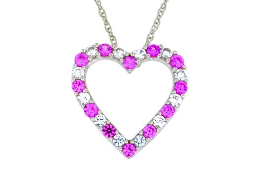 Preload https://img-static.tradesy.com/item/23863320/pink-and-white-sapphire-heart-pendant-925-sterling-silver-necklace-0-0-540-540.jpg