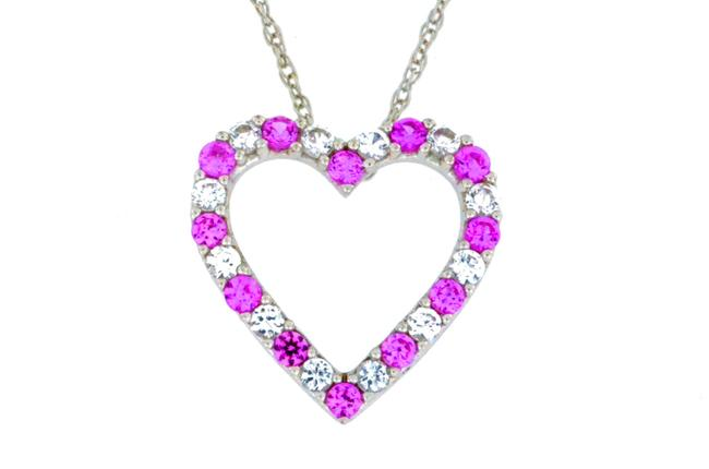 Pink & White Sapphire Heart Pendant .925 Sterling Silver Necklace Pink & White Sapphire Heart Pendant .925 Sterling Silver Necklace Image 1