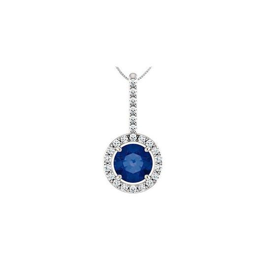 Preload https://img-static.tradesy.com/item/23863331/blue-sterling-silver-cz-halo-style-drop-pendant-with-6-mm-created-sapp-necklace-0-0-540-540.jpg