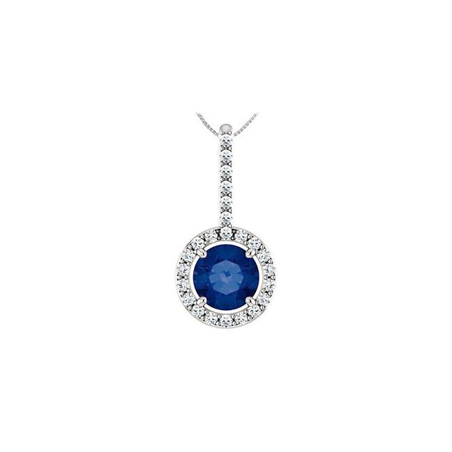 Blue Sterling Silver Cz Halo Style Drop Pendant with 6 Mm Created Sapp Necklace Blue Sterling Silver Cz Halo Style Drop Pendant with 6 Mm Created Sapp Necklace Image 1
