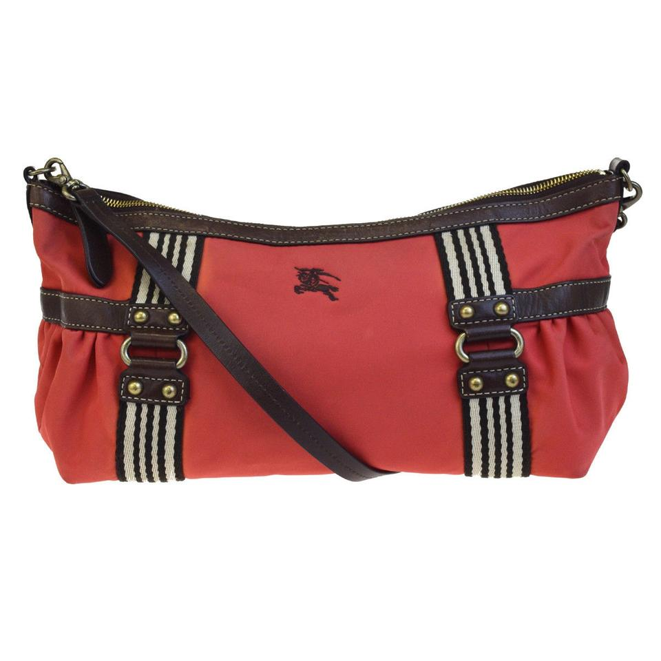 Burberry Blue Label Shoulder Red Nylon Leather Cross Body
