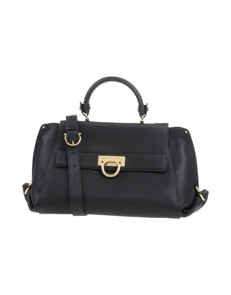 Salvatore Ferragamo Handbag Designer Italian Leather Satchel In Black