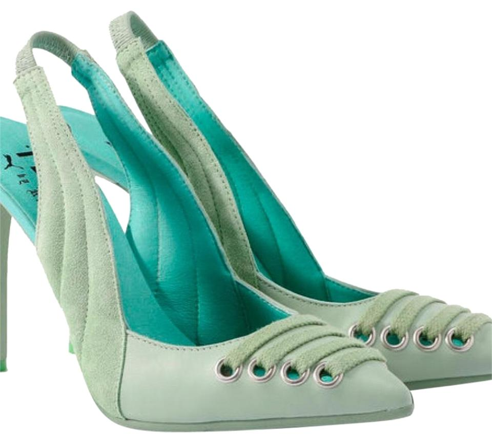 reputable site 3efd6 81589 FENTY PUMA by Rihanna Bokchoy Smoke Green Slingback Heels Pumps Size US 9  Regular (M, B) 47% off retail