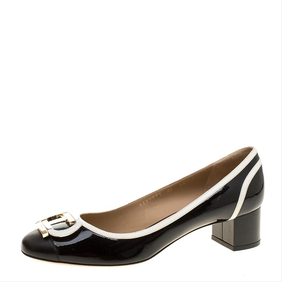 Salvatore Patent Ferragamo Black Monochsalvatore Rome Patent Salvatore Leather Gwen Si Pumps 8cf56a