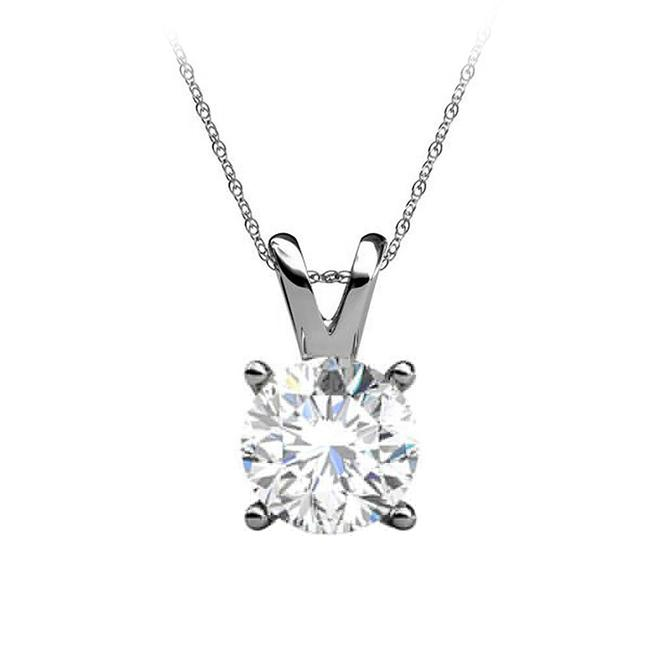 White Brilliant Cut Natural Diamond 14k Gold Pendant Necklace White Brilliant Cut Natural Diamond 14k Gold Pendant Necklace Image 1