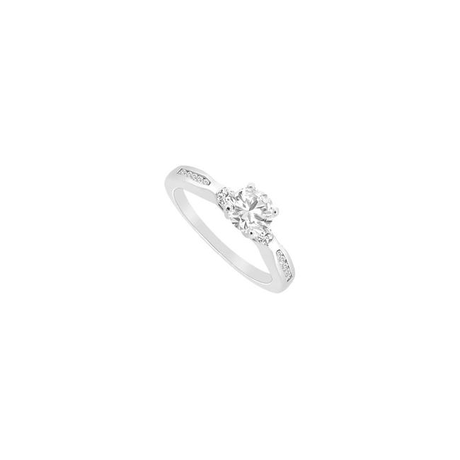 White White Cubic Zirconia Engagement Sterling Silver 0.75 Ct Czs Ring White White Cubic Zirconia Engagement Sterling Silver 0.75 Ct Czs Ring Image 1