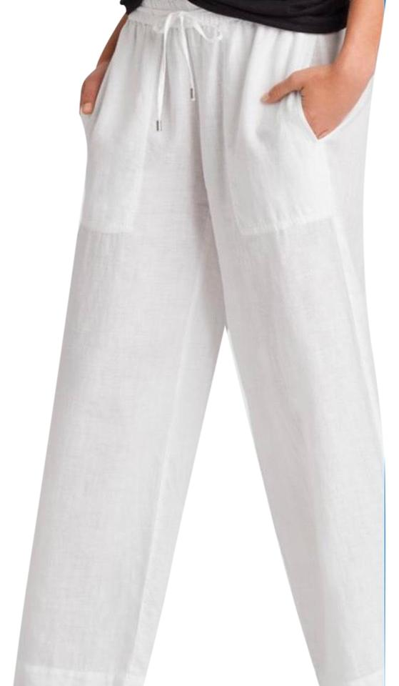 fashionable style many choices of wide selection of designs Eileen Fisher White Italian Linen Blend Pants Long Short Casual Dress Size  8 (M) 56% off retail
