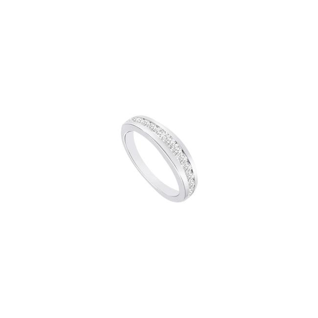 White White Cubic Zirconia Half Eternity Channel Set Wedding Band Sterling Silver Ring White White Cubic Zirconia Half Eternity Channel Set Wedding Band Sterling Silver Ring Image 1
