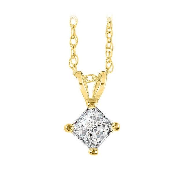 Yellow Free Chain and Happiness with Diamond Solitaire Pendant Necklace Yellow Free Chain and Happiness with Diamond Solitaire Pendant Necklace Image 1