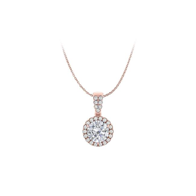 White 14k Rose Gold Vermeil Halo Pendant with Cubic Zirconia Necklace White 14k Rose Gold Vermeil Halo Pendant with Cubic Zirconia Necklace Image 1